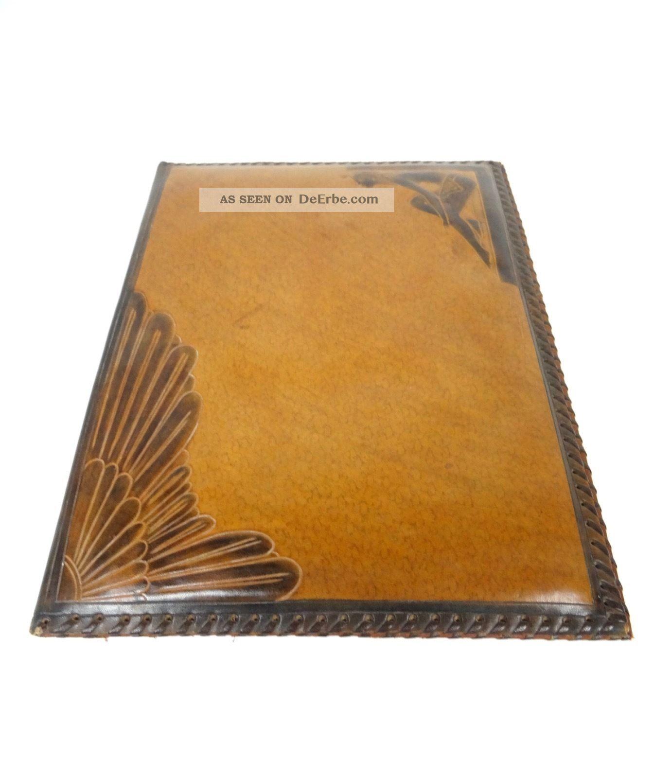 Art Deco MeisterstÜck Leder Schreibmappe Dokumentenmappe Signiert Satvy Um 1920 1920-1949, Art Déco Bild
