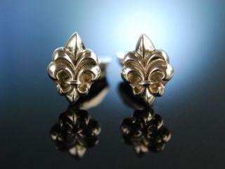 Fleur - De - Lis Cuff Links Massive Manschetten KnÖpfe Silber 925 Lilien Motiv Bild