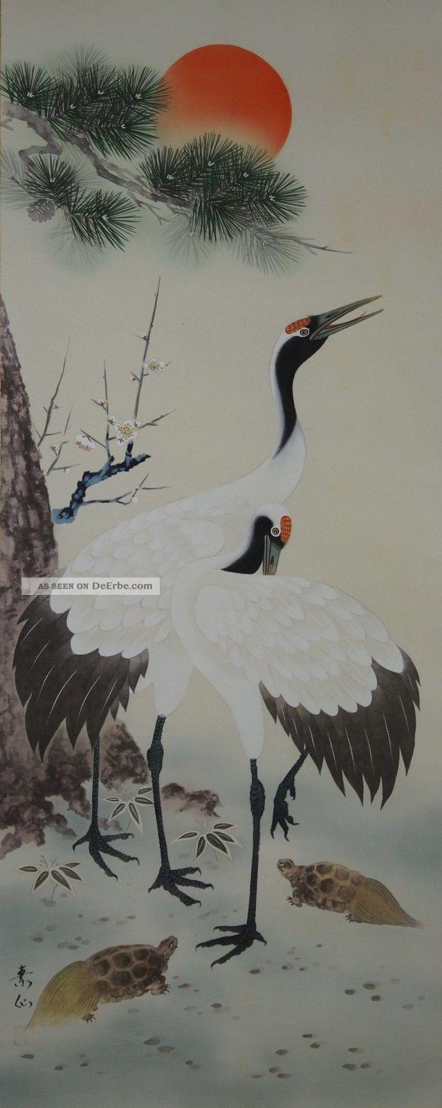 Antikes Japanisches Rollbild Kakejiku Zwei Kraniche Japan Scroll 3547 Asiatika: Japan Bild