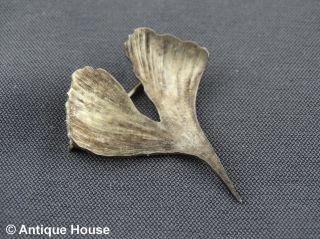 Schmuck Schmuckstück Silber 835 Gingkoblatt Anstecknadel Bild