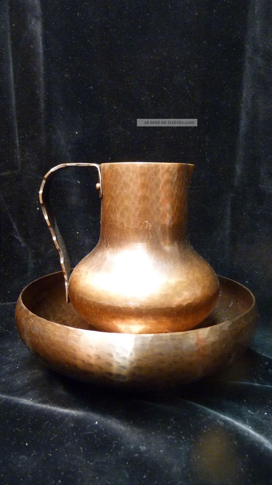 Alte Kupfer Krug & Schale - Handarbeit Von Richard Jakspeter - 50er J.  - Vintage Kupfer Bild