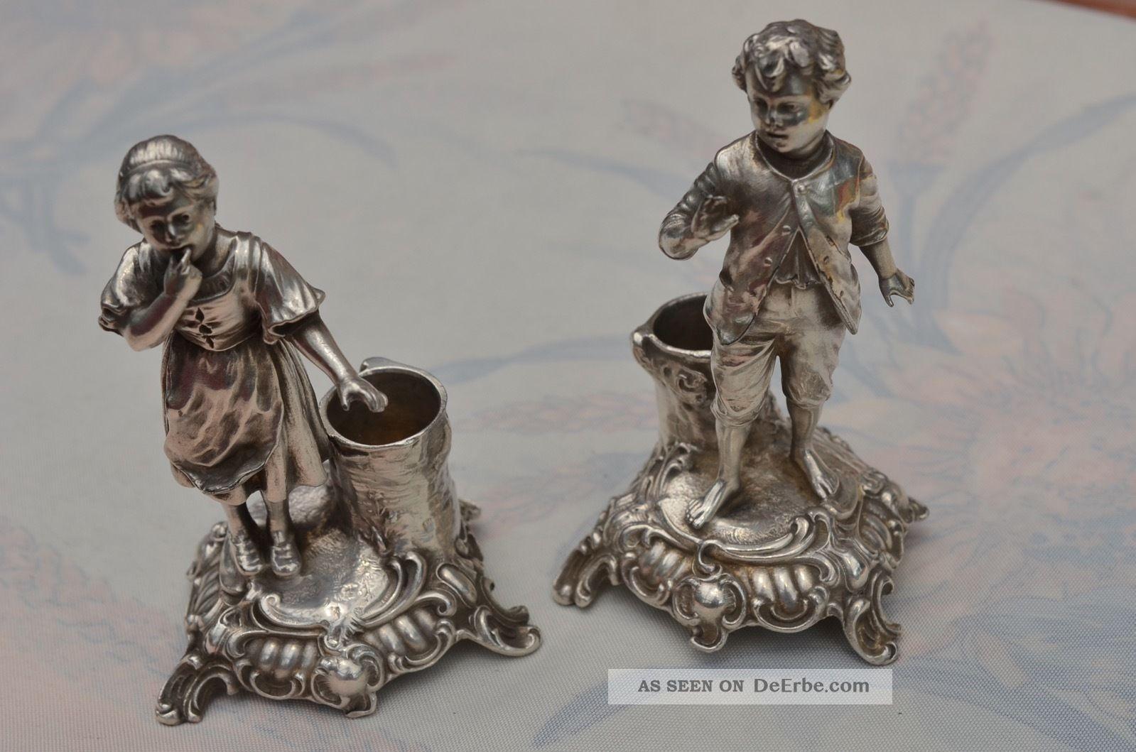 Schöne Zwei Alte Seltene Figürliche Wmf Kerzenleuchter Objekte vor 1945 Bild