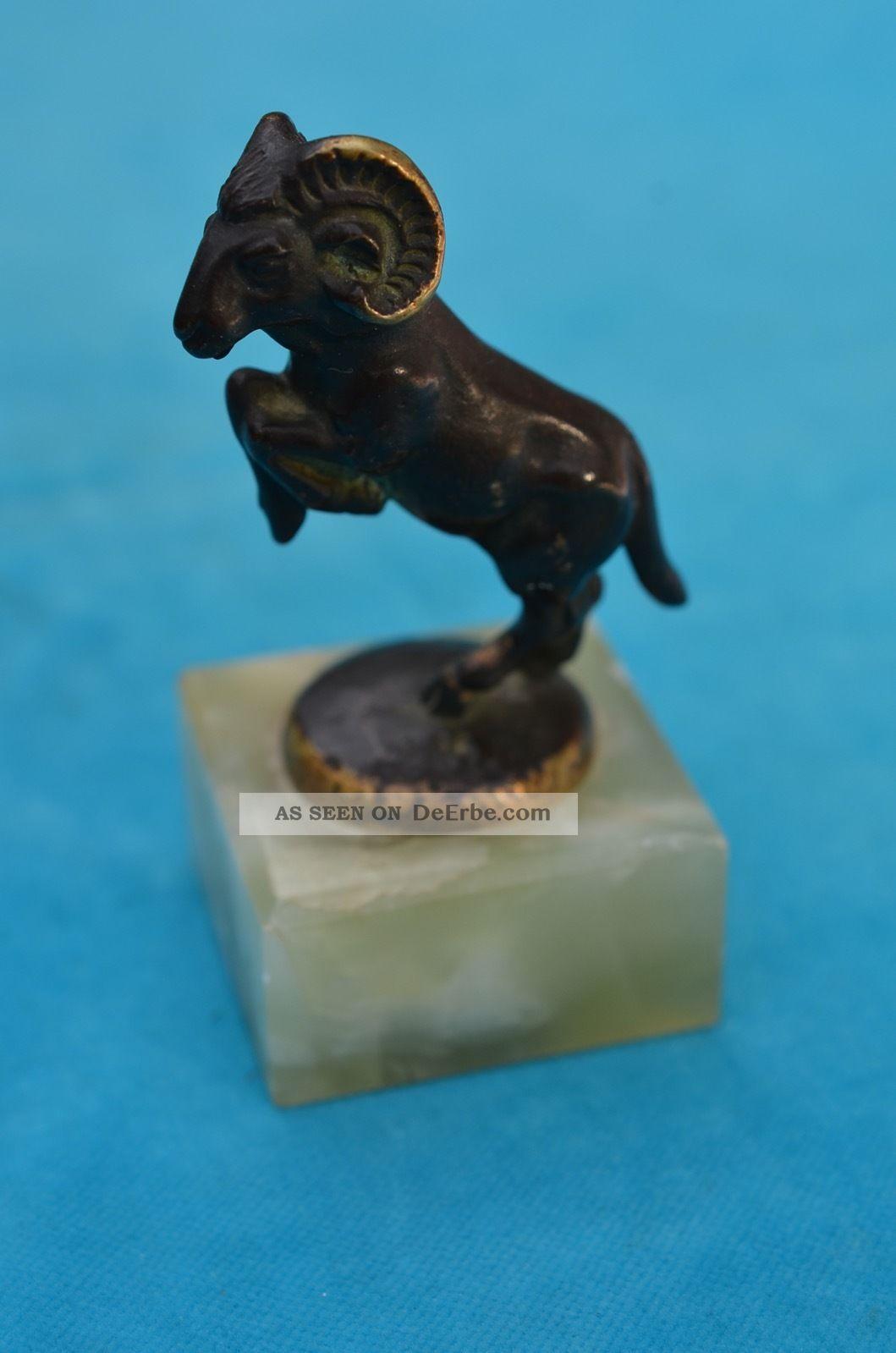 Altes Widder Modell Aus Bronze Schön Naturgetreu Bronze Bild