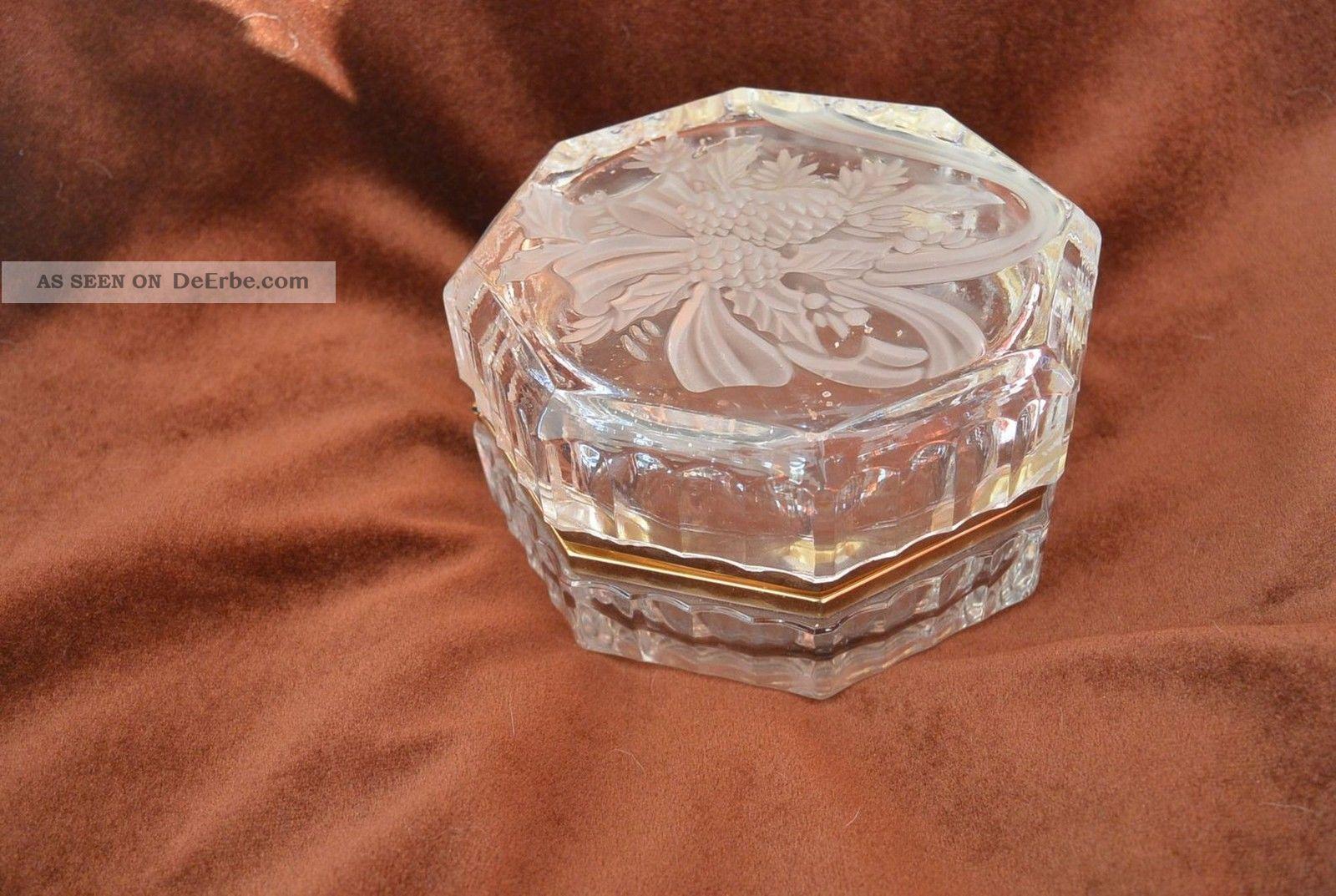 Bleikristall Konfektschale Deckeldose Klappbar Scharnier Messing Kristall Bild