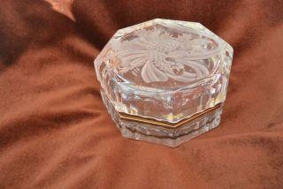 Bleikristall Konfektschale Deckeldose Klappbar Scharnier Messing Bild