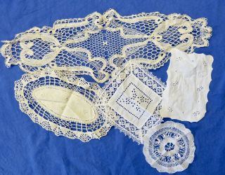 5x Schöne Antike Vintage Deckchen Spitzendeckchen Spitze Bild
