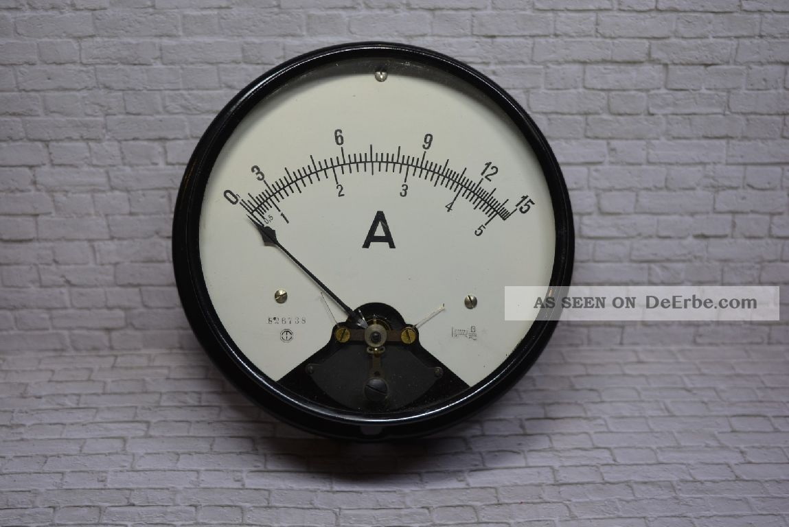 Antikes Amperemeter,  0 - 15a/0 - 5a Acdc,  Um 1920 Ø 19cm; K23 30 Wissenschaftliche Instrumente Bild