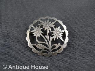 Schmuck Schmuckstück Silber 835 Alte Brosche Anstecknadel Edelweiß Gesägt Bild