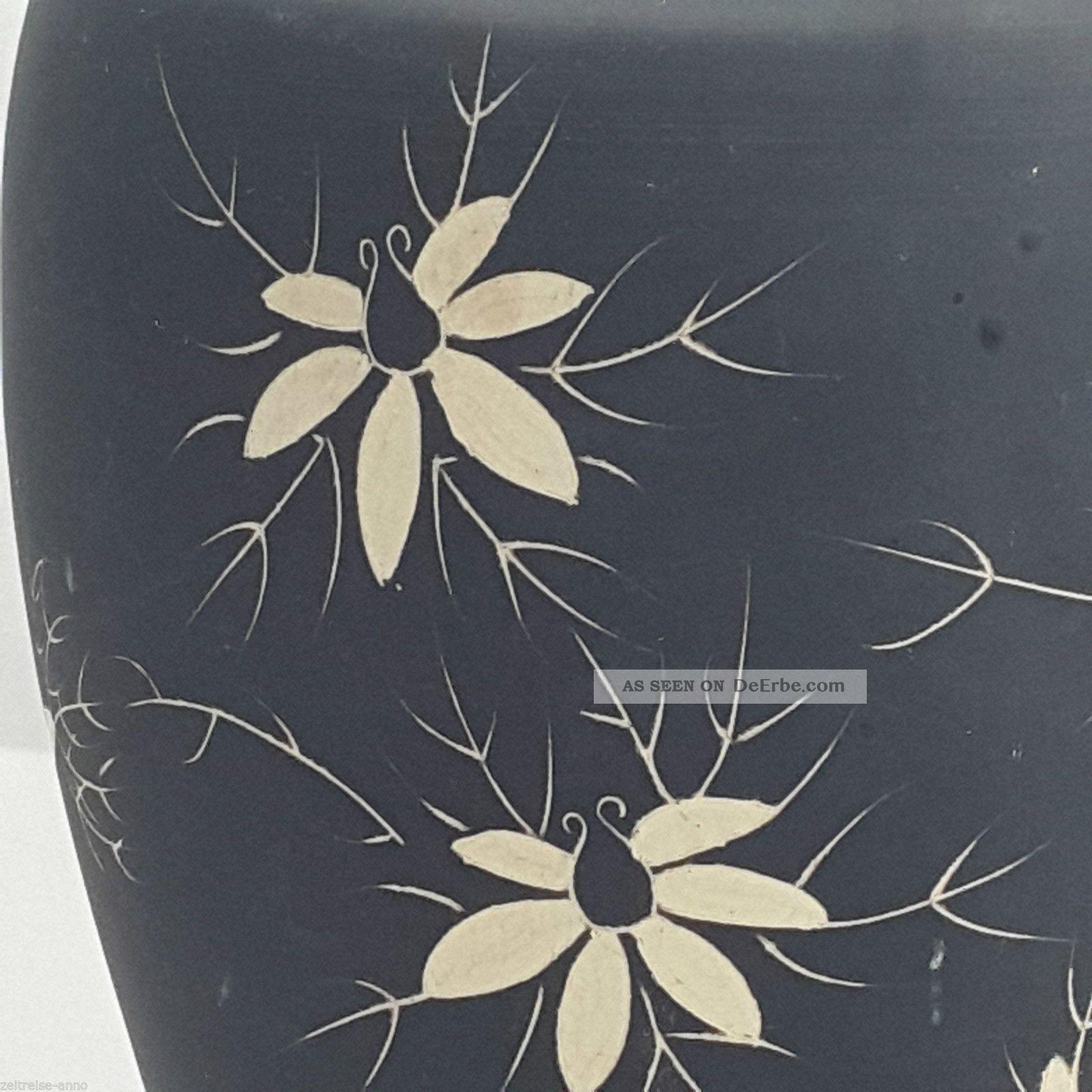 vintage keramik vase schwarz matt bl tendekor handarbeit. Black Bedroom Furniture Sets. Home Design Ideas
