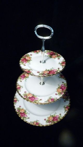 Royal Albert Old Country Roses - 3er Etagere - Bone China - England Bild