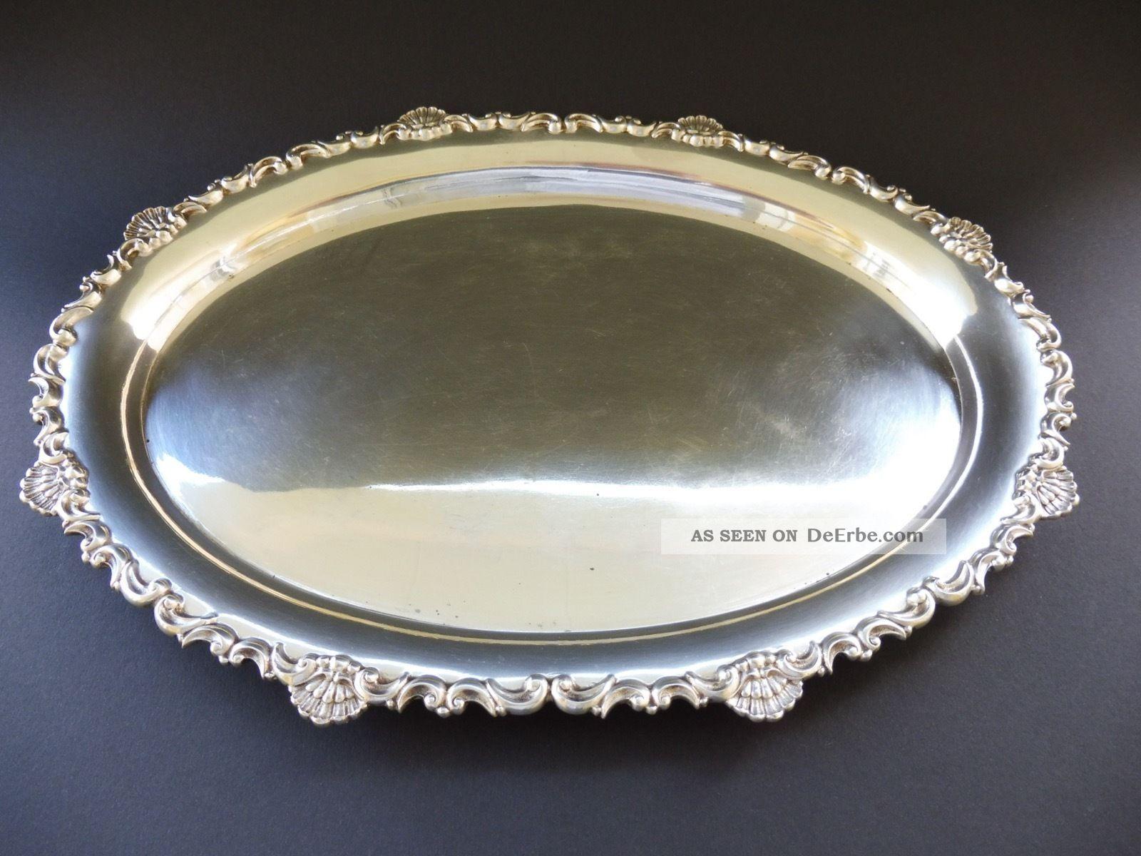 Jugendstil 800 Silber Tablett 708 Gramm Art Nouveau Solid Silver Tray Frau Punze Objekte vor 1945 Bild