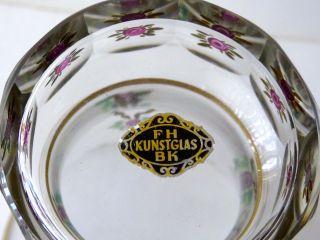 Becher Pokal Vase Glas Fh Kunstglas Bk Böhmen Handbemalt Bild