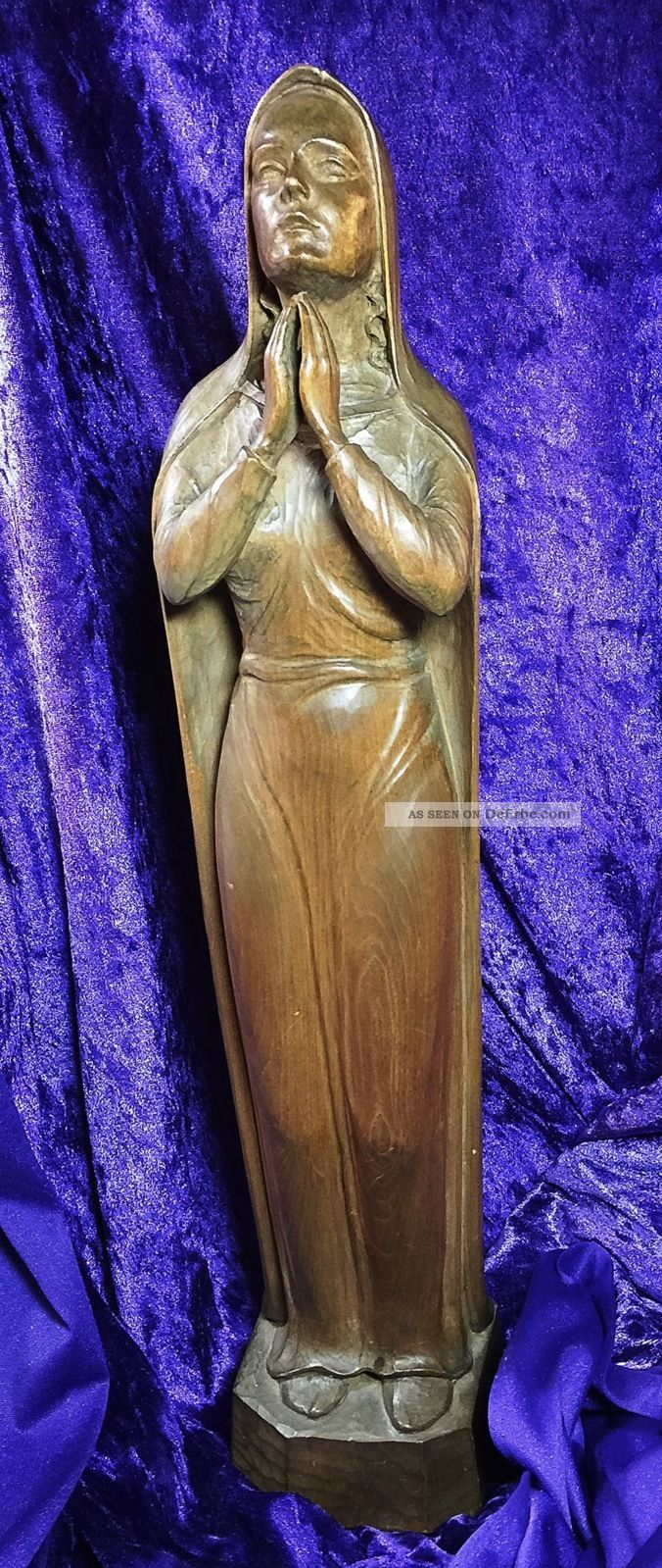 Wunderschöne Madonnenfigur / Holzschnitzkunst / Gemarkt H R / 1946 / 53 Cm Skulpturen & Kruzifixe Bild
