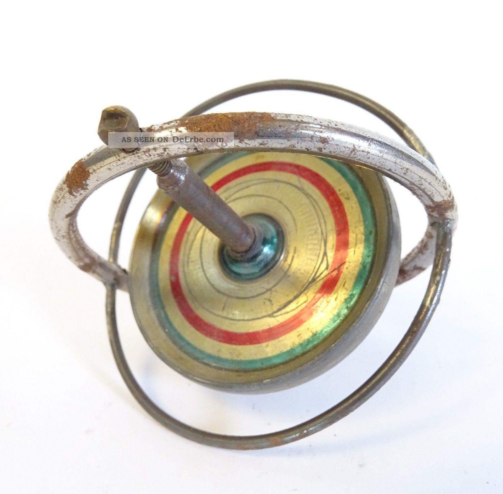 Antiker Kreisel Blechkreisel Gyroskop Physik Technik Antikspielzeug Rarität Original, gefertigt vor 1945 Bild