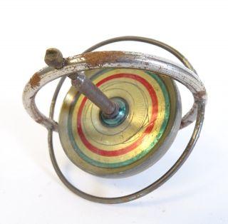 Antiker Kreisel Blechkreisel Gyroskop Physik Technik Antikspielzeug Rarität Bild