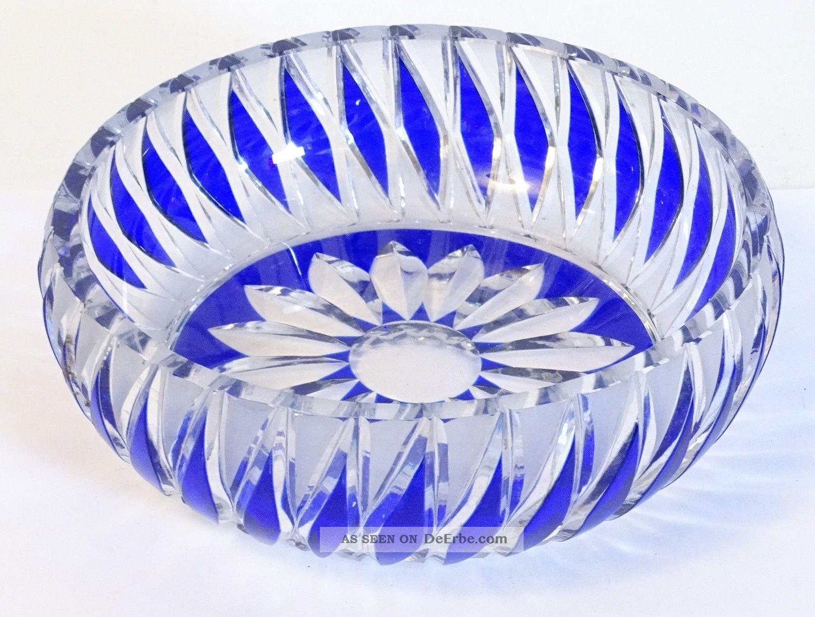 Tolle Blei Kristall Glas Schale Anbietschale Konfektschale Blau Blumenmuster Kristall Bild