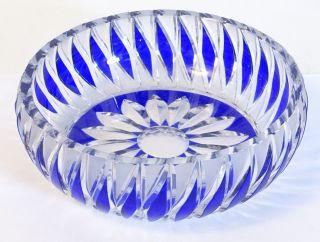 Tolle Blei Kristall Glas Schale Anbietschale Konfektschale Blau Blumenmuster Bild