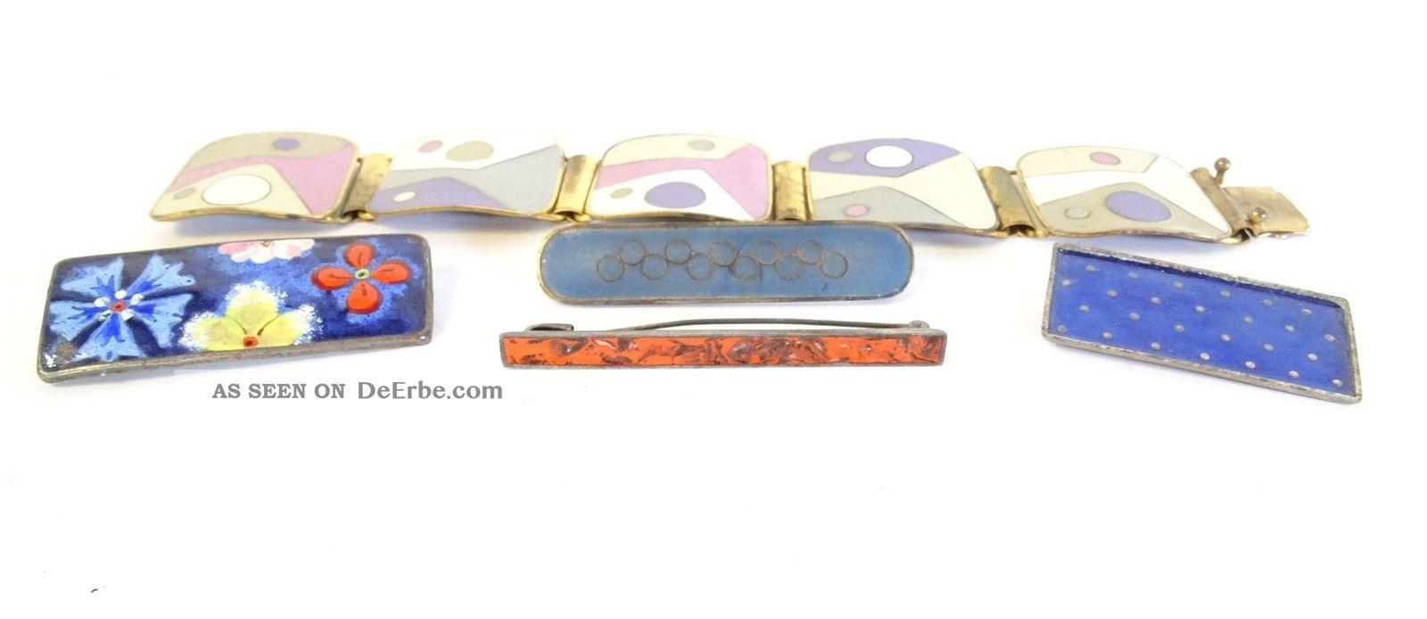 Konvolut Emaille Antikschmuck Armband Und Broschen 70er Jahre Handarbeit Schmuck Schmuck nach Epochen Bild