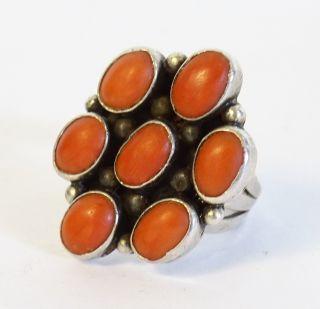 Alter Wunderschöner Ring Mit Koralleneinfassung Koralle 7 Steine Rot Orange 18mm Bild