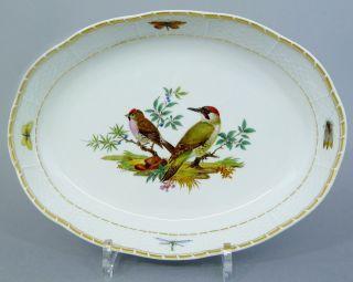 (g1088) Ovale Meissen Brotkorb Mit Vogel Motiv,  Ozier Relief,  1.  Wahl,  L=28,  5cm Bild
