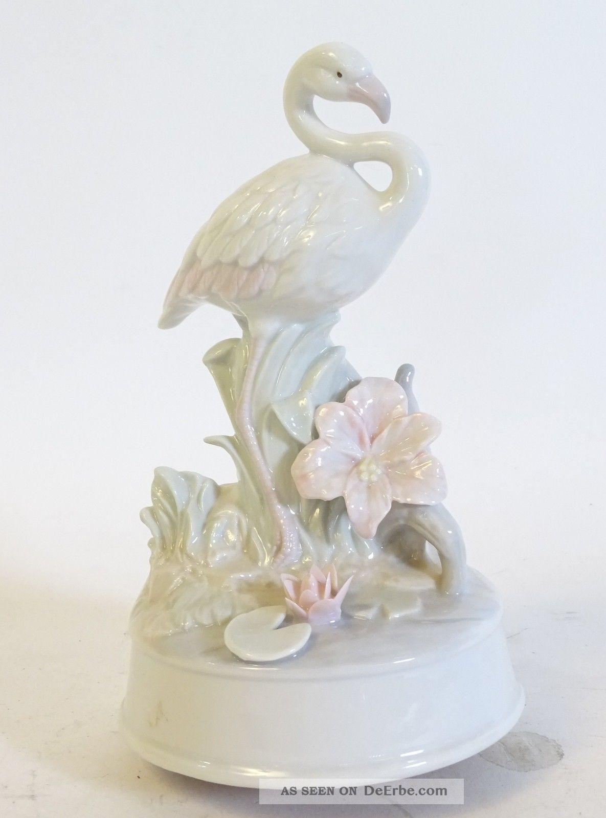 Porzellan Spieluhr Reiher Kranich Blumendekor Melodie