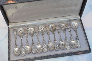 12 Stück Jahreslöffel Kaffeelöffel Silber 830 Niederlande Um 1814 - 1953 Bild