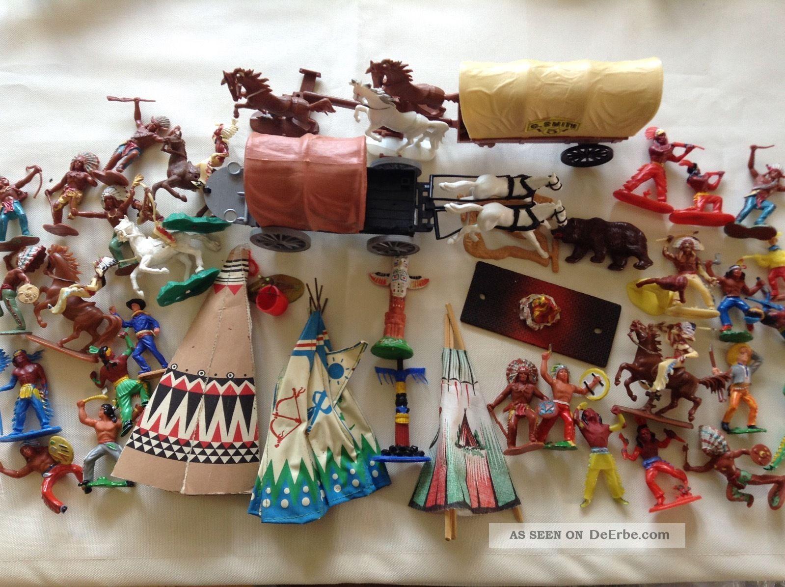 Konvolut Cowboys Indianer Kutsche Indianerdorf Zelte Pferde 70er Kunststoff Gefertigt nach 1945 Bild