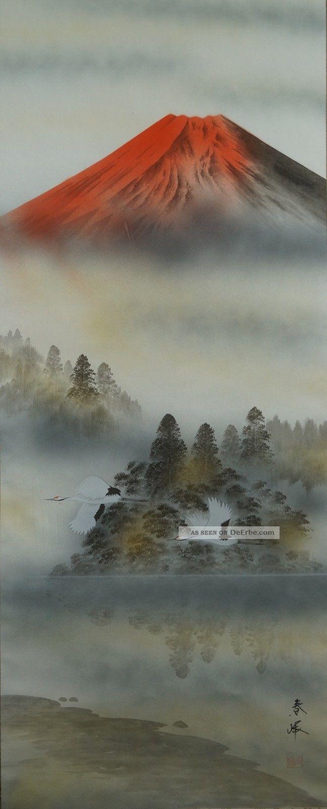 Antikes Japanisches Rollbild Kakejiku Berg Fuji Japan Scroll 3622 Asiatika: Japan Bild