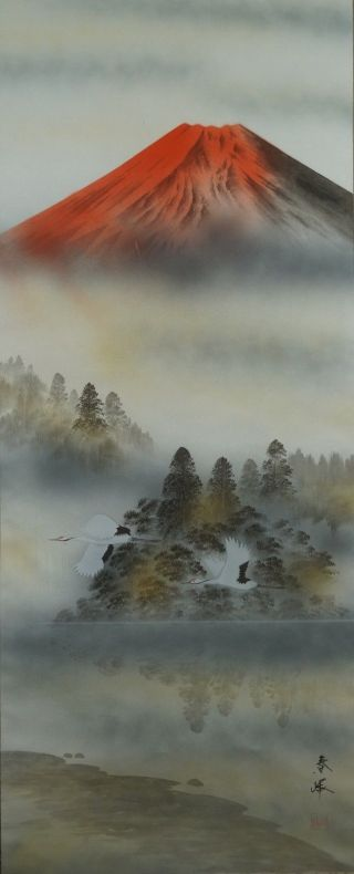 Antikes Japanisches Rollbild Kakejiku Berg Fuji Japan Scroll 3622 Bild