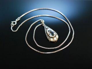 Um 1910 Antiker Aquamarin AnhÄnger Mit Kette Gold 585 Und 333 Diamanten Perlen Bild