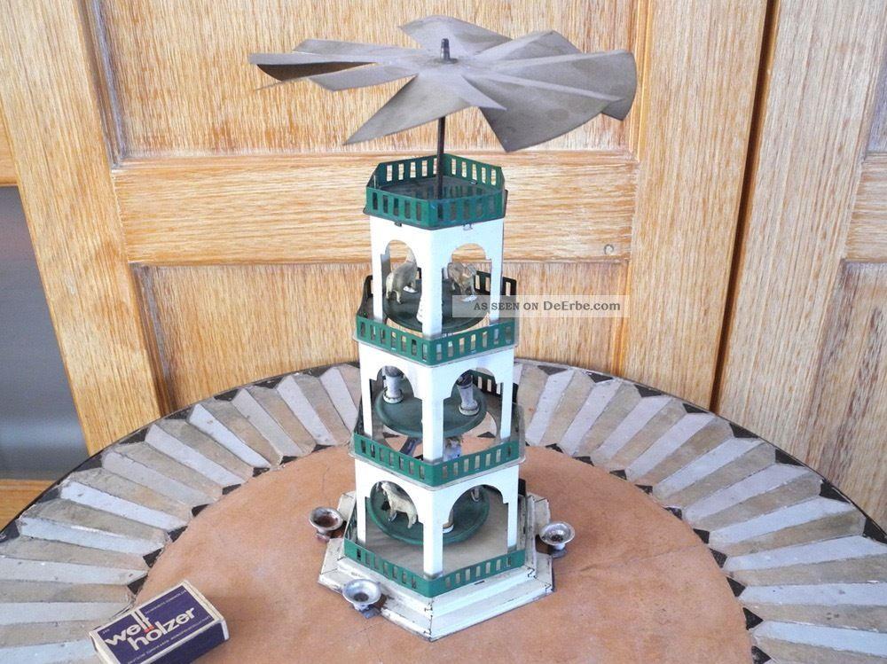 Blech Weihnachtspyramide D.  R.  G.  M Blechspielzeug 1930er Jahre - Art Deco - Antik Antike Originale vor 1945 Bild