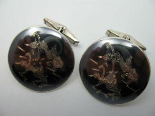 Siam Wunderschöne Große Manschettenknöpfe Aus 925 Tula Niello Silber Bild