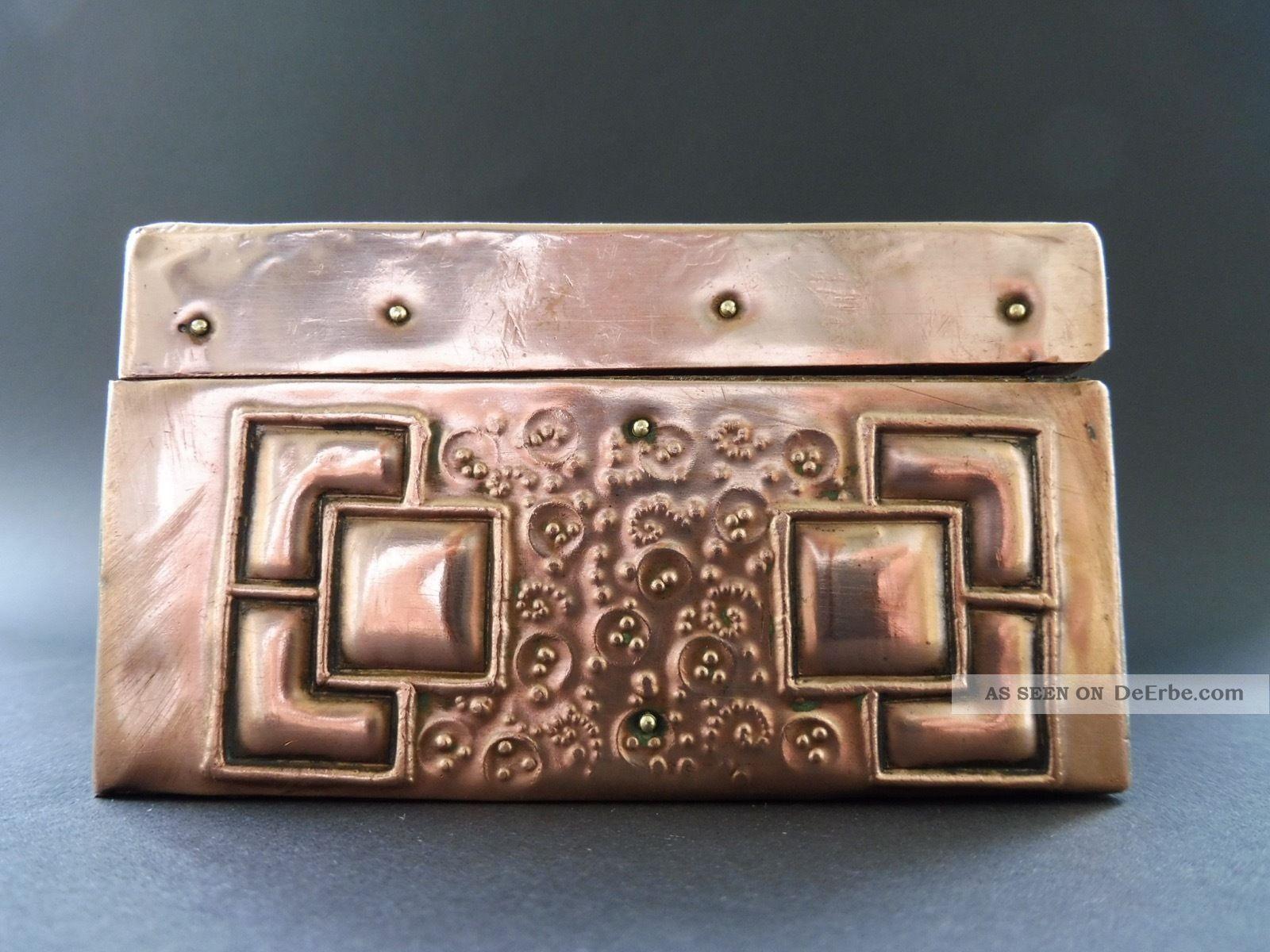Secession Wien Jugendstil Dose Art Nouveau Design Ornament Quadrat Kupfer Copper 1890-1919, Jugendstil Bild