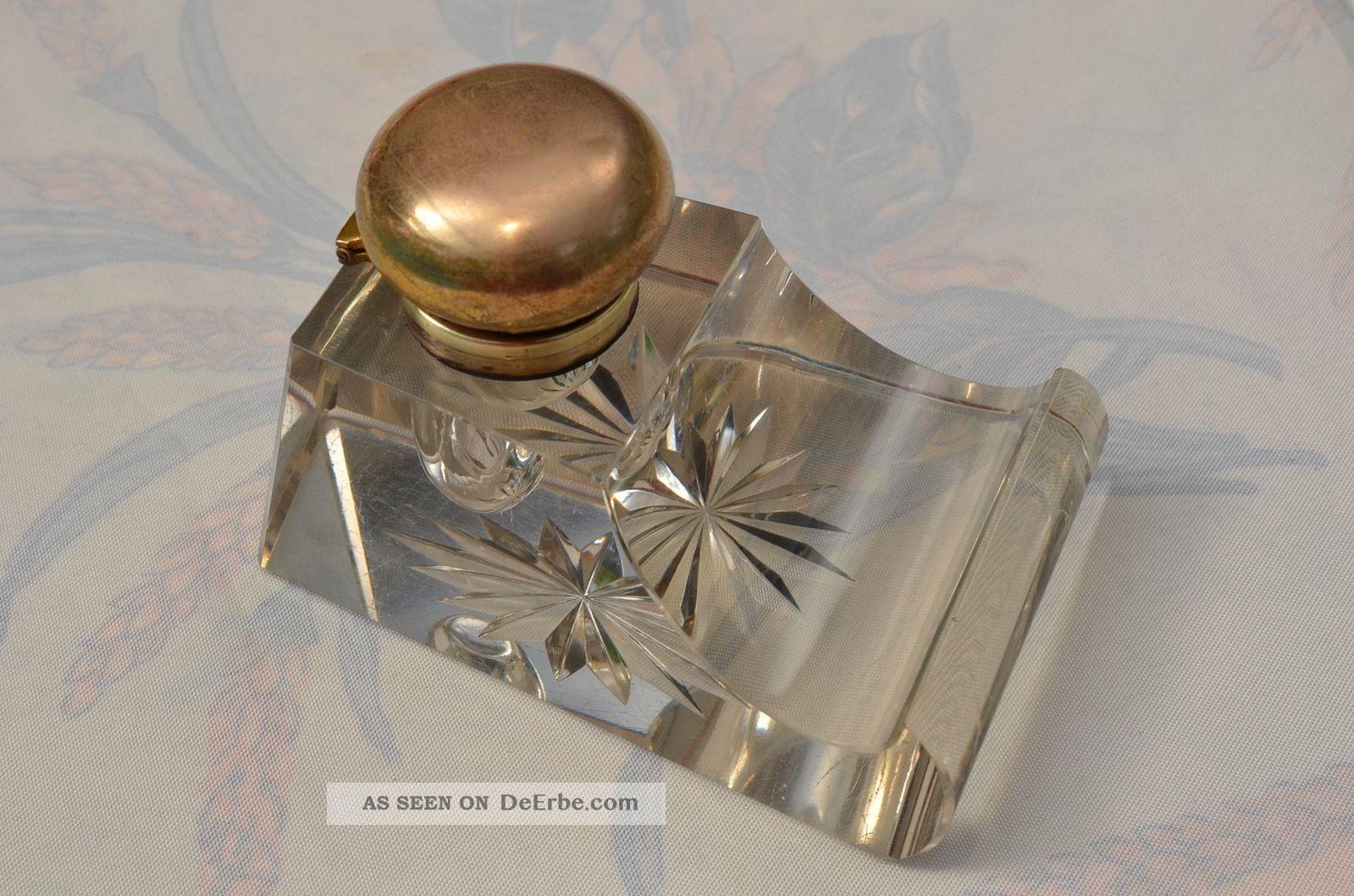 Altes Massives Geschliffenes Tintenfass Kristallglas Sammlerstück 1910/1930 Kristall Bild