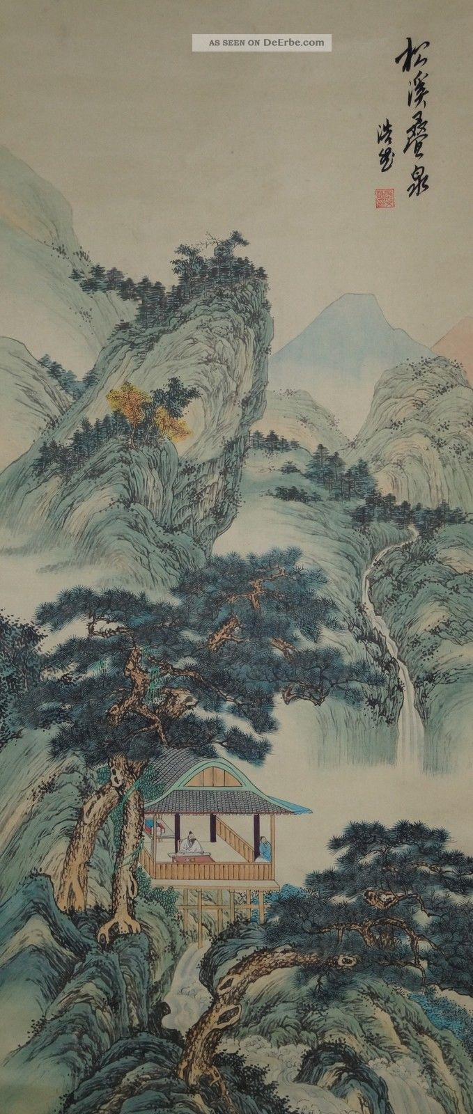 Antikes Japanisches Rollbild Kakejiku Landschaft Japan Scroll 3536 Asiatika: Japan Bild