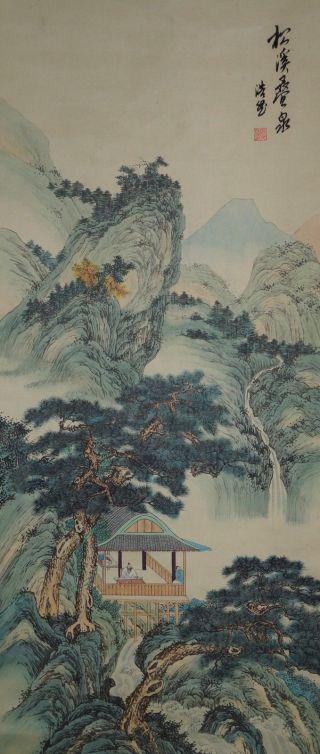 Antikes Japanisches Rollbild Kakejiku Landschaft Japan Scroll 3536 Bild