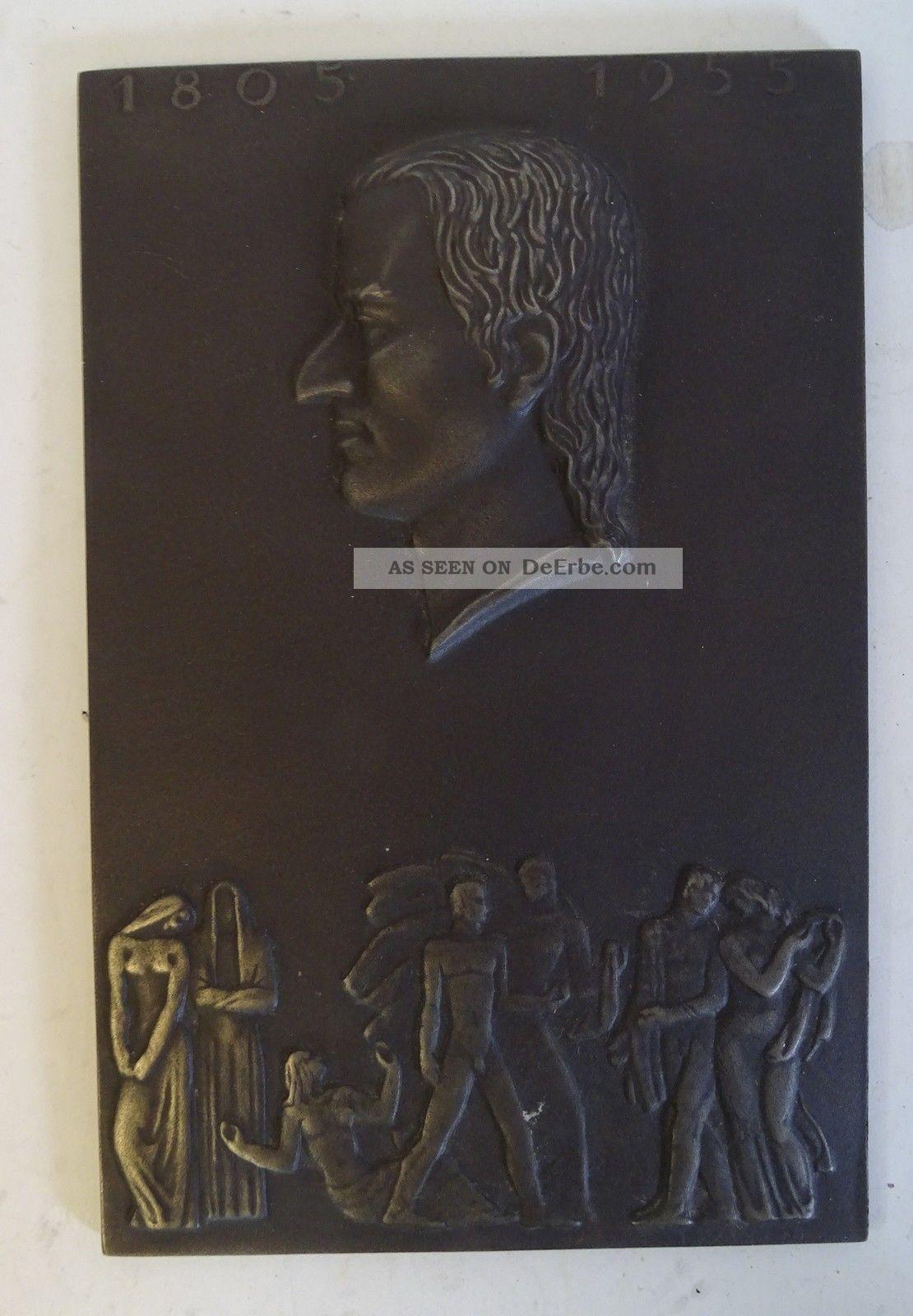 Antike Guss Wand Platte Shw Schiller Jahr 1955 Wasseralfingen Gefertigt nach 1945 Bild