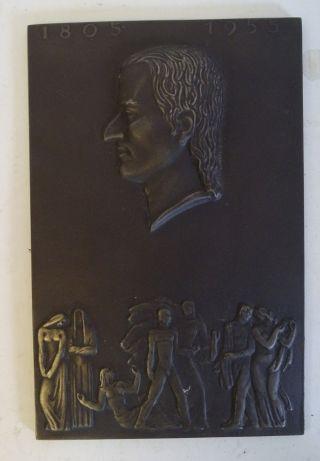 Antike Guss Wand Platte Shw Schiller Jahr 1955 Wasseralfingen Bild