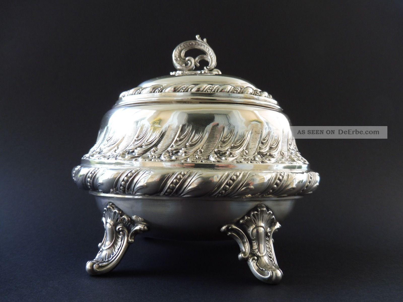 Deutsche 800 Silber Jugendstil Zuckerdose Sugar Box Art Nouveau Vegetabil Silver Objekte vor 1945 Bild
