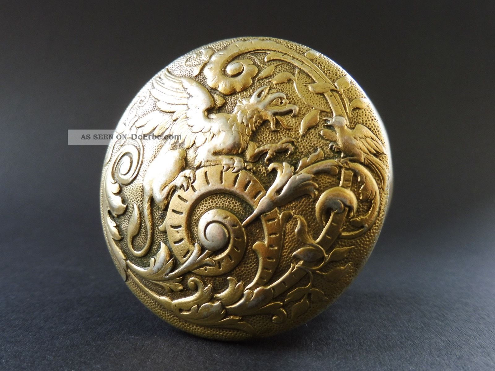 Jugendstil Sterling Silber Dose Pillen Drache Floral Dragon Box Gold Art Nouveau Objekte vor 1945 Bild