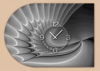 6140 Dixtime Designer Wanduhr,  Moderne Wohnraumuhr Halbrund 50x70cm Bild