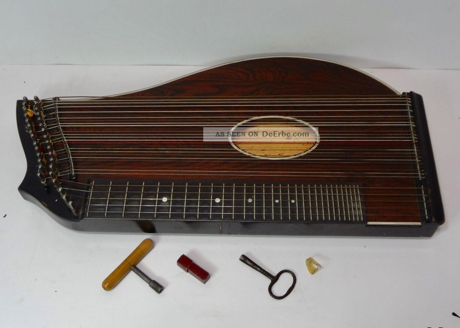 Antike Zither Im Koffer - Um 1900 - 1910 / Alpenländisch - Salzburger Form Musikinstrumente Bild