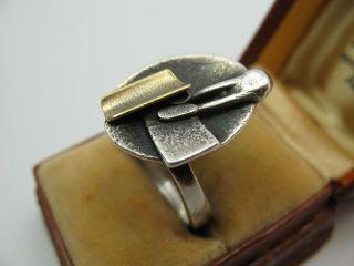 Handarbeit Wunderschöner Designer Ring Aus 925 Silber Und Gold Bild