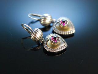 Herz Ohrringe Zu Tracht Und Dirndl Silber 835 Teil Vergoldet Granat Um 1960 Bild