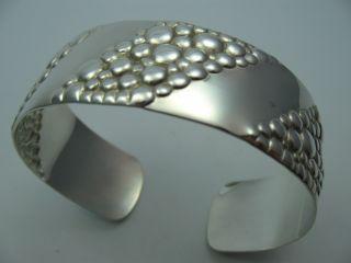 Klasse Breite 60er 70er Jahre Design Armspange Aus 925 Sterling Silber Bild