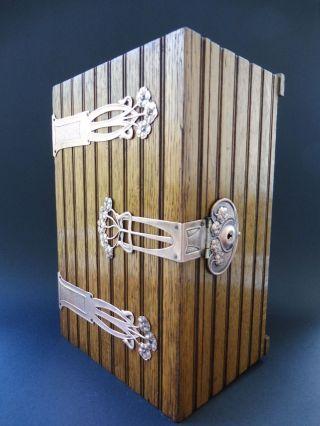Große Jugendstil Kassette Floral Box Art Nouveau Holz Wooden Schloss Lock Flower Bild