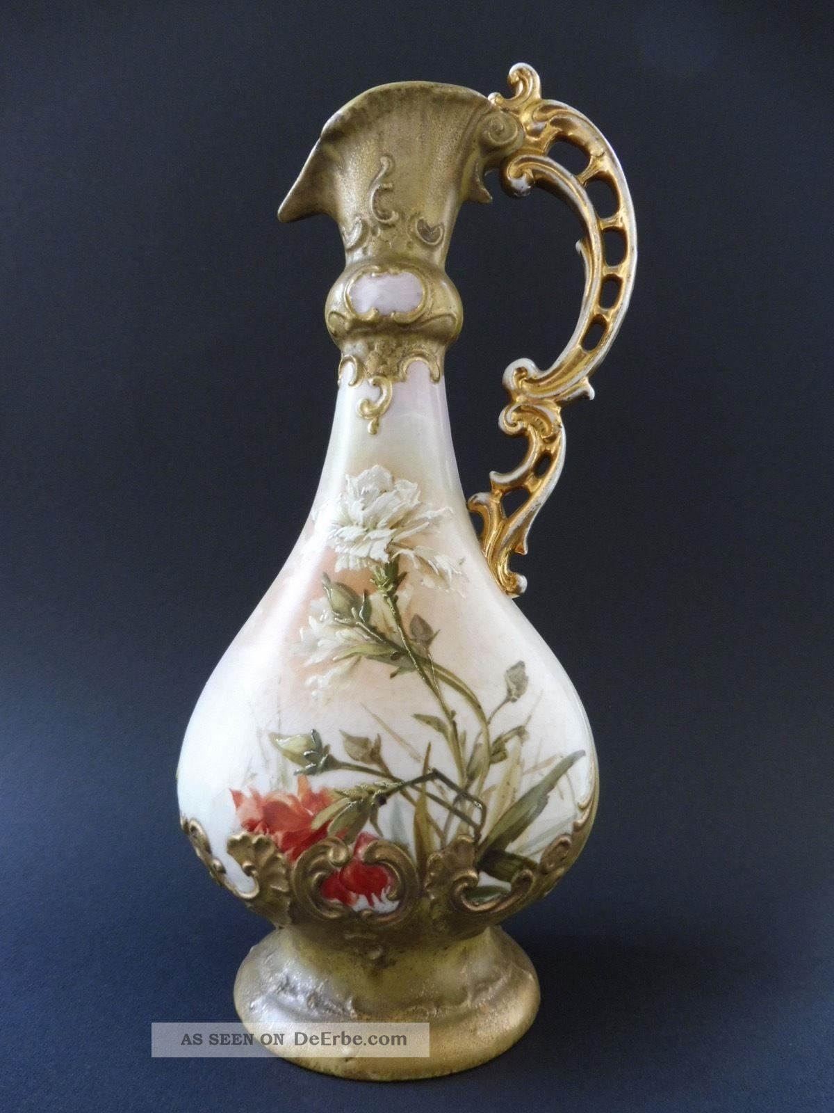 Jugendstil Karaffe Vase Floral Keramik At Nouveau Jug Malerei Wahliss Amphora ? 1890-1919, Jugendstil Bild