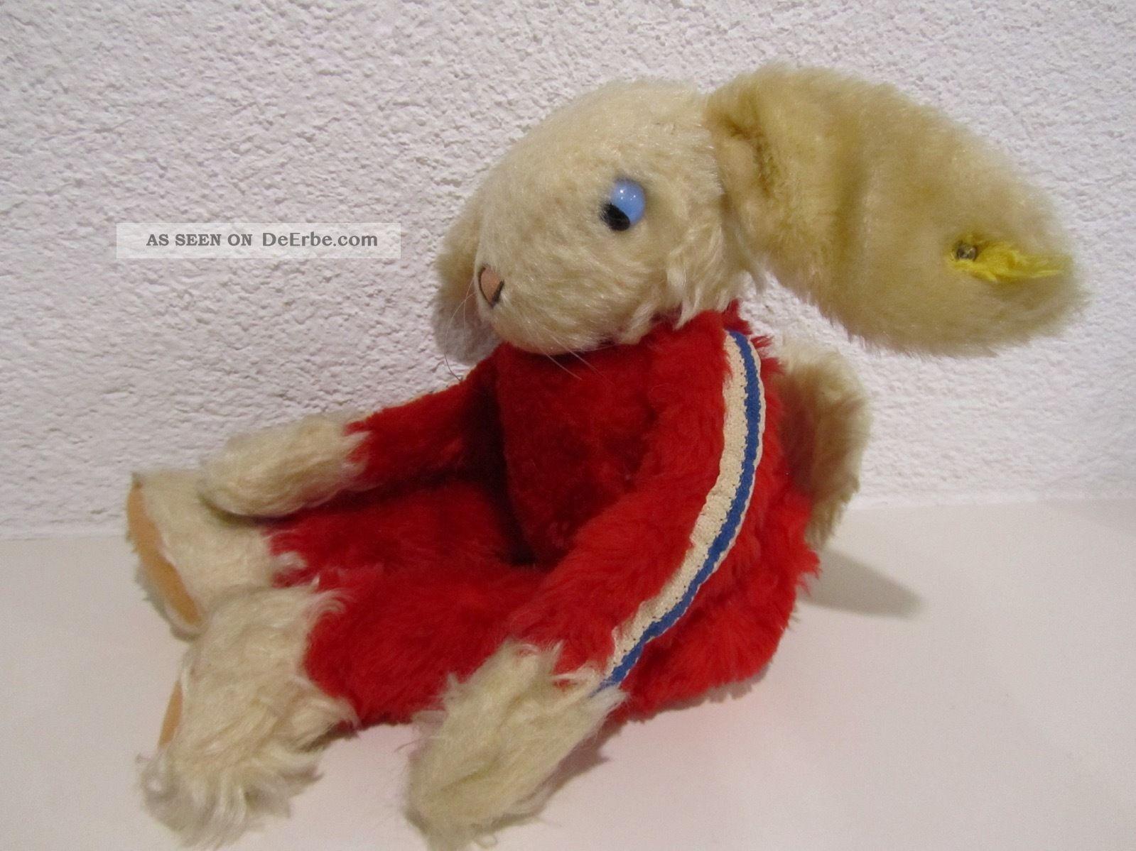 Steiff Rico Hase Roter Jogging - Anzug,  Schlenkerglieder,  43 Cm,  70er Jahre Tiere Bild