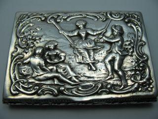 Seltene Reich Verzierte Tabatiere Schnupftabakdose Um 1880 Aus 800 Silber Bild