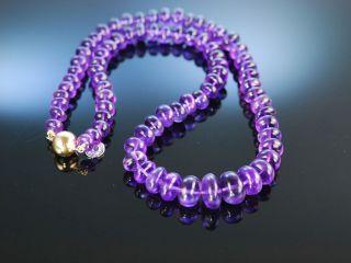 Violetter Edelstein Lila Amethyst Necklace Kette Collier Gelb Gold 585 14 Kt Bild